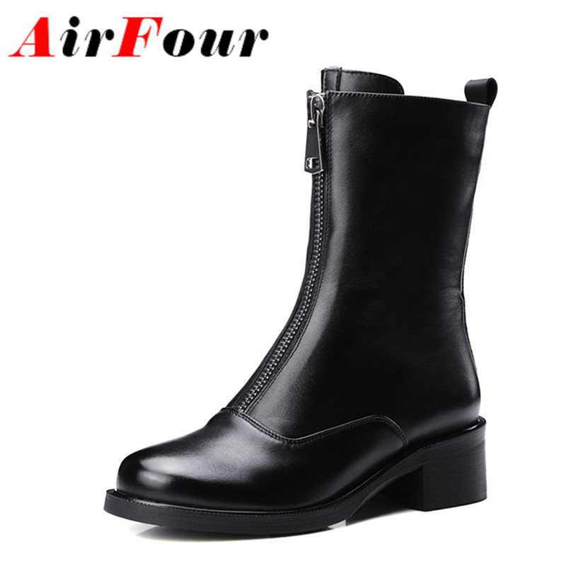 ENMAYLA Low Heels Classic Black Shoes Woman Zippers Size 34-39 Platform Shoes Round Toe Winter Boots Mid-calf Motorcycle Boots enmayla ankle boots for women low heels autumn and winter boots shoes woman large size 34 43 round toe motorcycle boots