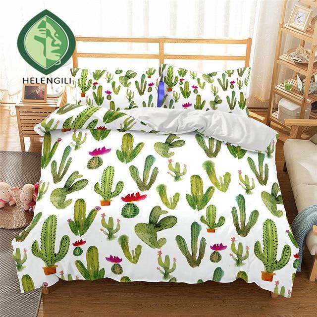 helengili 3d bedding set cactus print duvet cover set lifelike bedclothes with pillowcase bed set home - Cactus Bedding
