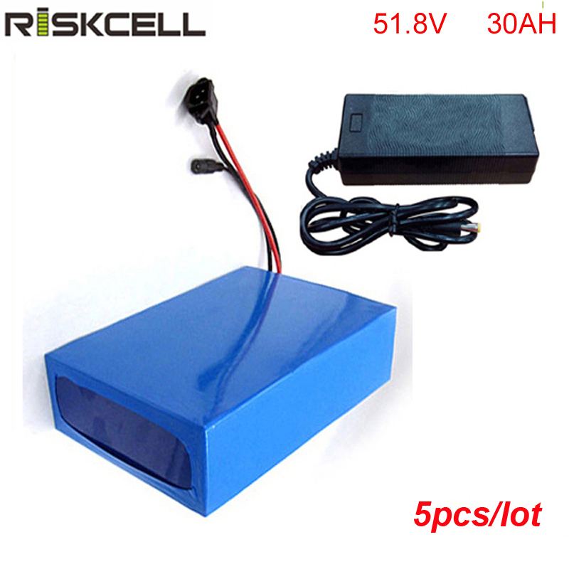 5pcs/lot 14S Electric Bike Battery pack 52V 30Ah Lithium ion Battery for 8fun BBS03 48V 1000W eBike Motor Kit triangle style ebike battery 51 8v 30ah 1500w electric bike battery with bms lithium battery 52v battery pack for panasonic cell