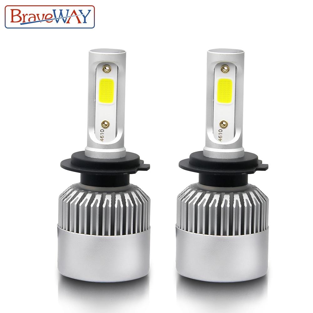 BraveWay H7 LED H8 H11 H1 9005 9006 9007 H3 LED Phare Ampoule Salut-Lo Faisceau H4 LED Lumière ampoule pour Voiture Glace Lampe Auto 8000LM 6500 k