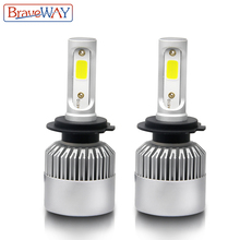 BraveWay H4 LED H7 H11 H1 9005 9006 9007 Carro LEVOU Lâmpada do Farol Feixe de Oi-Lo AutoLamp 8000LM 6500 k Luz Lâmpada Vesta S2 para Lada