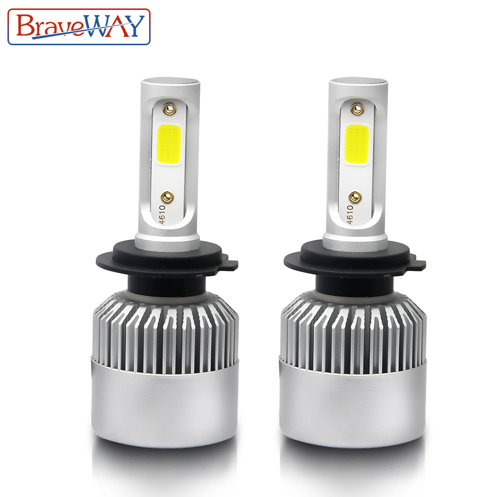 BraveWay H7 LED H8 H11 H1 9005 9006 9007 H3 LED Headlight Bulb Hi-Lo Beam H4 LED Light Bulb for Car Ice Lamp Auto 8000LM 6500K