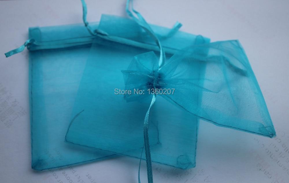 100pcs/lot 9x12cm Turquoise Blue Colour Organza Wedding Gift  Bags Pouches