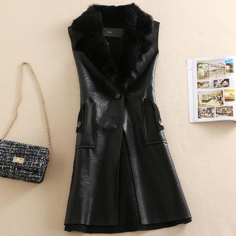 Arrival Women Vest Rabbit Fur Black pU leather Long Jacket Coat Vest Outerwear 3XL