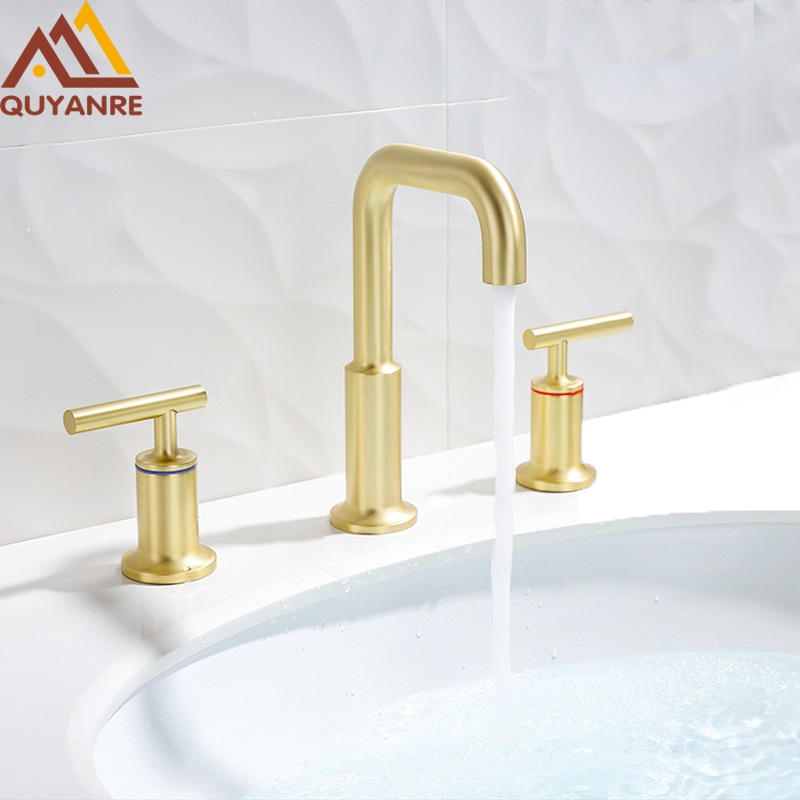 Quyanre Brushed Gold Basin Faucet Deck Mount Dual Handles Hot Cold Water Mixer Tap Bathroom Shower