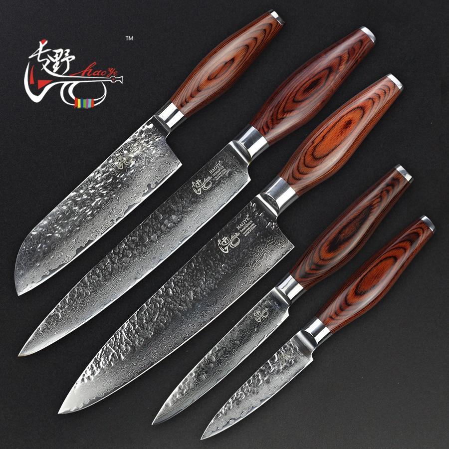 HAOYE damasco cinco facas de cozinha pedaço definir aço inoxidável forjado martelo punho de madeira de cor corte Dicing Picar Talheres