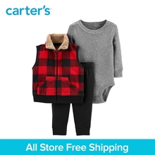 3pcs cotton bodysuit coordinating pants buffalo checks fleece vest Set Carter's baby boy fall winter clothing 121I951