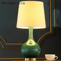 Европейский сад керамическая лампа спальня ночники современный минималистский Творческий теплая Зеленая лампа бесплатная доставка