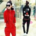 2016 Весной И Осенью Женщин Спортивной Толстовки Брюки Новый Кардиган С Капюшоном Корейской Моды Дамы Руно Микки Вышивка