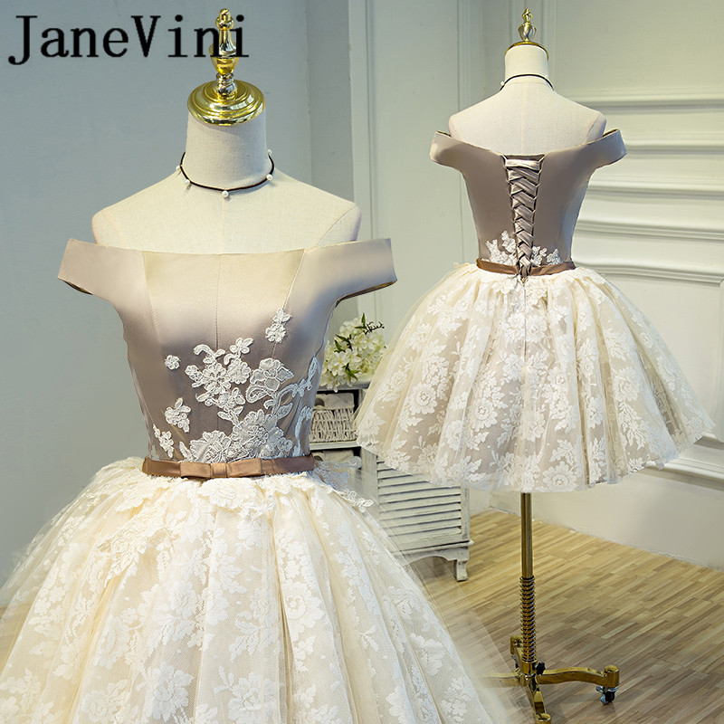 JaneVini Charming Champagne Lace Short Mother Of The Bride Dresses A Line Boat Neck Lace Appliques Pageant Evening Party Gowns