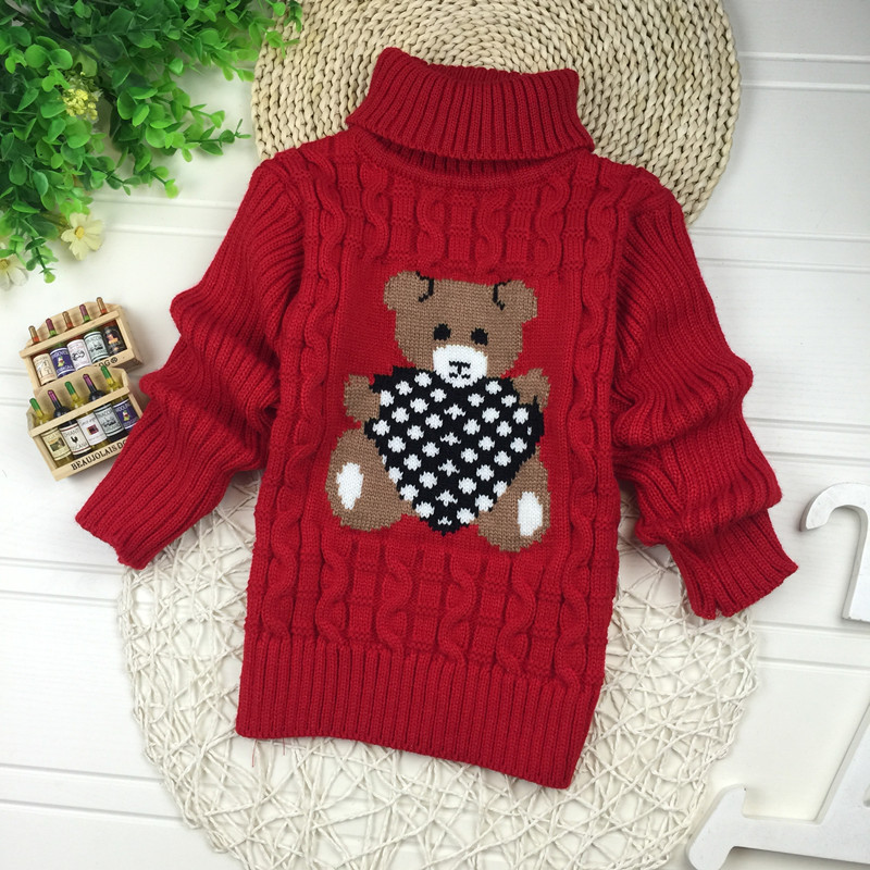 Big Size 2T-7T pullover winter autumn infant baby sweater boy girl child knitted sweater turtleneck sweater children outerwear 2