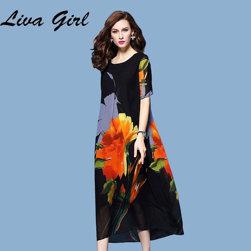LIVA CHICA 2017 de Primavera y Verano Nuevas mujeres de Gran Tamaño Vestido de S