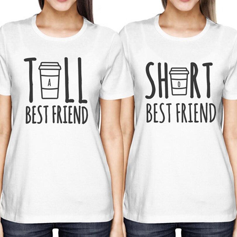 Bonito Melhor Amigo Correspondência T-Shirt BFF de Altos e Baixos do T camisa Das Mulheres Para Os Amantes do Café Camiseta Femme Tamanho Algodão S-XXL