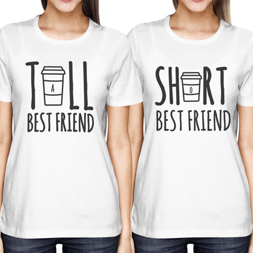 Cute best friend tall and short matching t shirt bff t for Xxl tall white t shirts