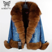 AORRYVLA 2018 Winter Women's Jacket With A Hood Natural Fox Fur Collar Full Sleeve Short Length Thick Warm Ladies Winter Jackets