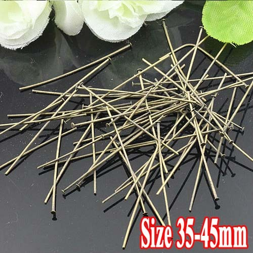 "250G/PIECE Wholesale Antique Bronze IRON Based 35mm/38mm/40mm/45mm long ""T""-shaped Head Pins for DIY Jewelry"