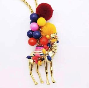 Image 4 - CSxjd di vendita Caldo palla di capelli di colore desert camel signore di modo della catena del maglione della collana del commercio allingrosso
