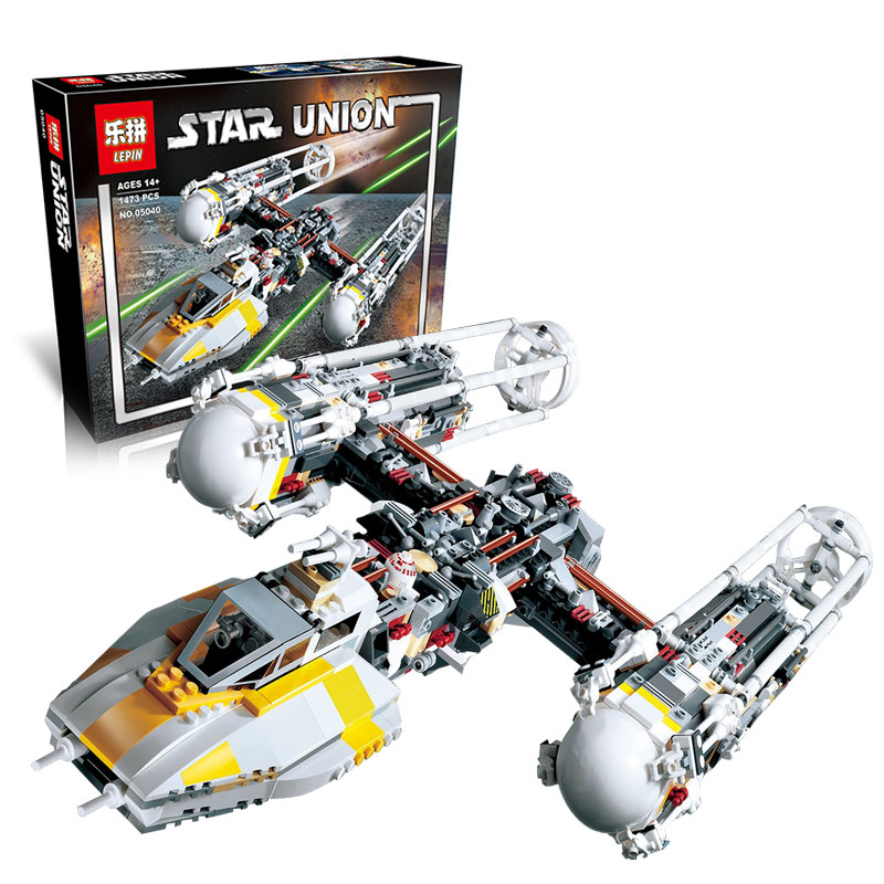 Lepin 05040 Star Series Wars Y Star Wing Attack fighter Building Assembled Block Toy Compatible With lego 10134 Educational Gift lepin 05040 y attack starfighter wing building block assembled brick star series war toys compatible with 10134 educational gift