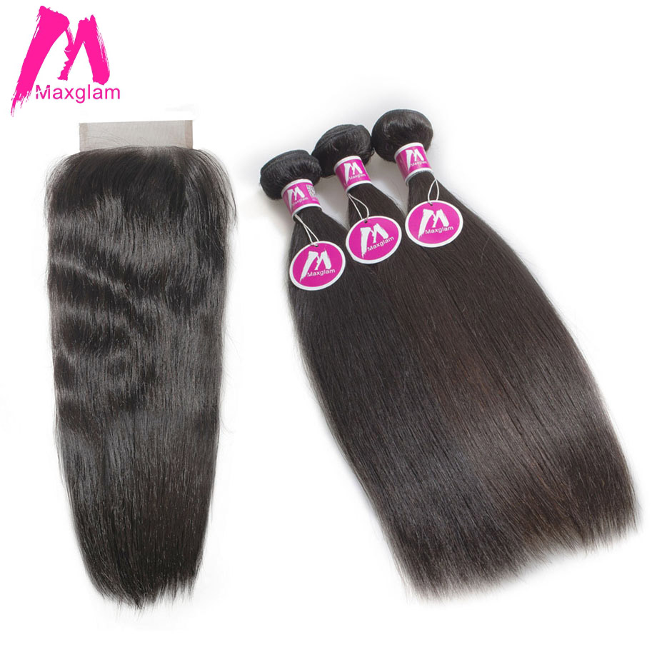 Maxglam Malaysian 3 Human Hair Bundles with Closure Straight Virgin Hair Bundles with Closure Hair Extension