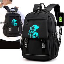 Computer bag middle school student bag men's luminous usb outdoor backpack Korean leisure bag yulo new washable canvas bag usb printing middle school student bag retro men s shoulder computer backpack