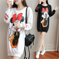 Women 2017 Autumn Winter Plus Size Print Cartoon Minnie Long Sleeved Above Knee Casual Loose Sweet