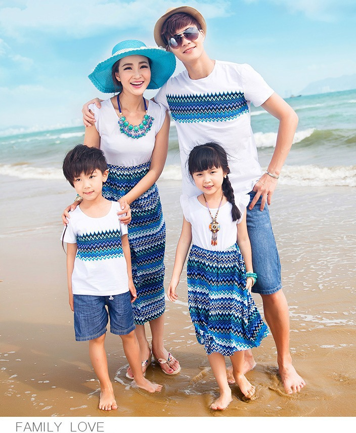 Hapi Store 2017 summer sand beach bohemian t shirt dressclothes mother and daughter clothes matching family clothing  family look 029jy