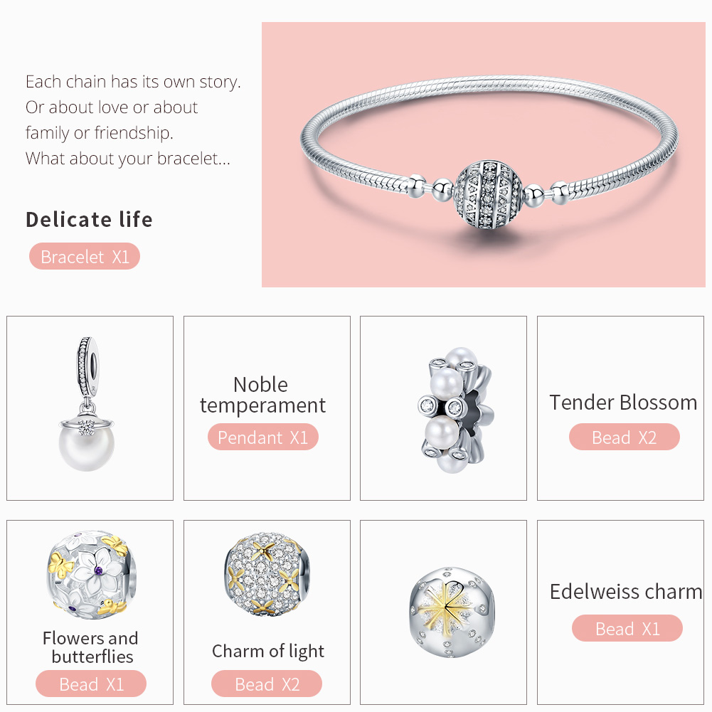 WOSTU подлинный 925 пробы Серебряный ослепительный полный цветение ромашка браслет для женщин модные серебряные ювелирные изделия подарок для влюбленных DXB806 - 2