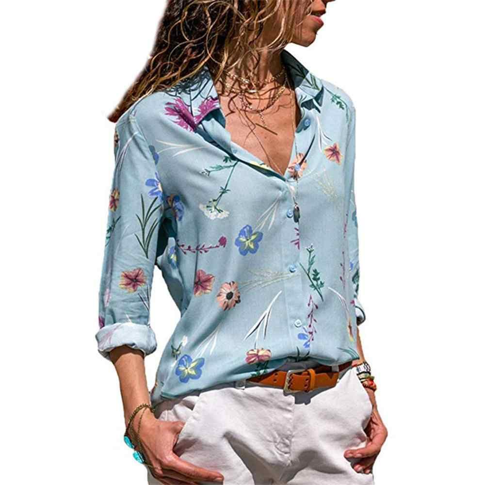2019 Blusas de moda para mujeres de manga larga cuello vuelto camisa de oficina Blusa de gasa camisa Casual Blusas de talla grande Blusas femeninas