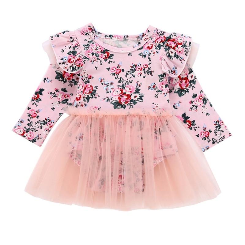 Cute Lace Newborn Kids Baby Girls Romper Long Sleeve Baby Girls Floral Long Sleeve Romper