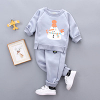 2pcs Baby Boy Set Wool Knitted Cotton Sweater Girls Boys Sets Infant Warm Snow Man Pants