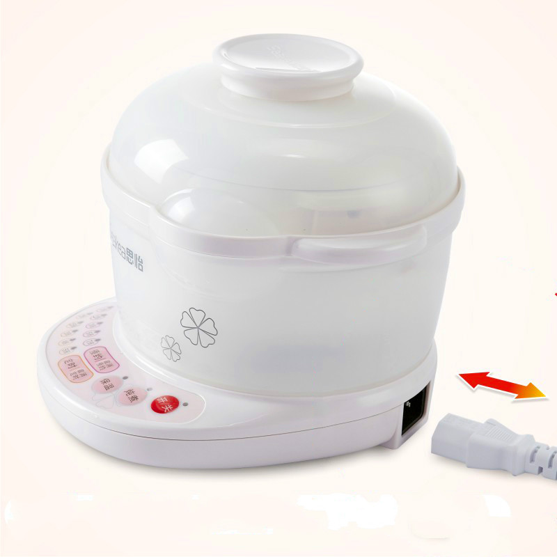 Electricity Stew Pot Electric Slow Cooker Mini Pot Porridge Soup Pot Automatic Ceramics with  Timing Reservation Function White cukyi automatic electric slow cookers purple sand household pot high quality steam stew ceramic pot 4l capacity