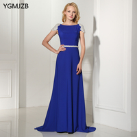 Backless Long Evening Dresses 2018 A Line Scoop Sleeveless Beaded Crystal Luxury Royal Blue Arabic Formal Evening Party Gowns