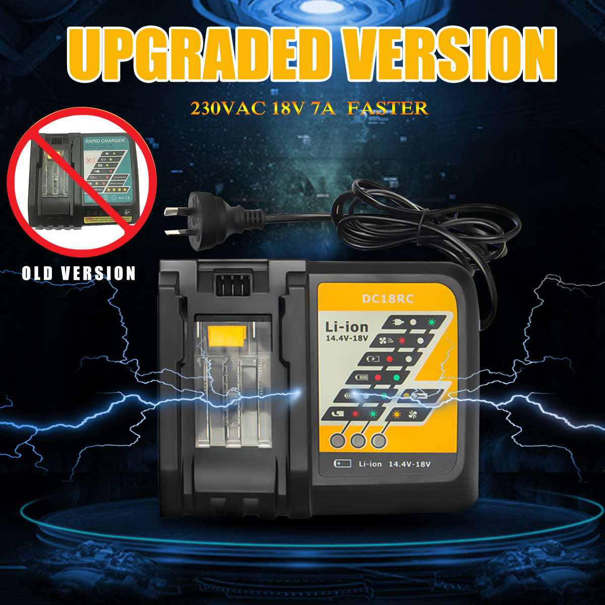 DC18RC Li-ion Battery Charger 7A Charging Current for Makita 14.4V 18V BL1830 BL1840 Replacement Power tool dawupine dc18rct li ion battery charger 3a 6a charging current for makita 14 4v 18v bl1830 bl1430 dc18rc dc18ra power tool