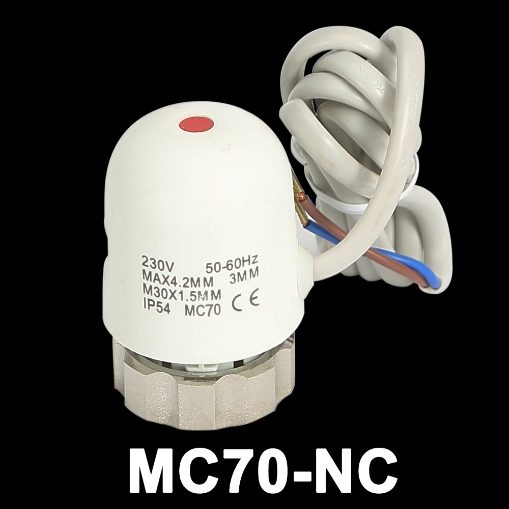 MC70-NC Normally Closed Electric Valve Thermal Actuator For Electric Floor Heating Manifold In Underfloor Heating System AC230V 24v normally open normally close electric thermal actuator for room temperature control three way valve dn15 dn25