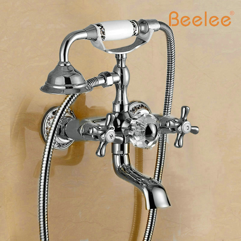 Beelee BL6004R New Golden Wall Mounted Bathtub Shower Faucet Telephone Style Shower Bath Mixer Taps