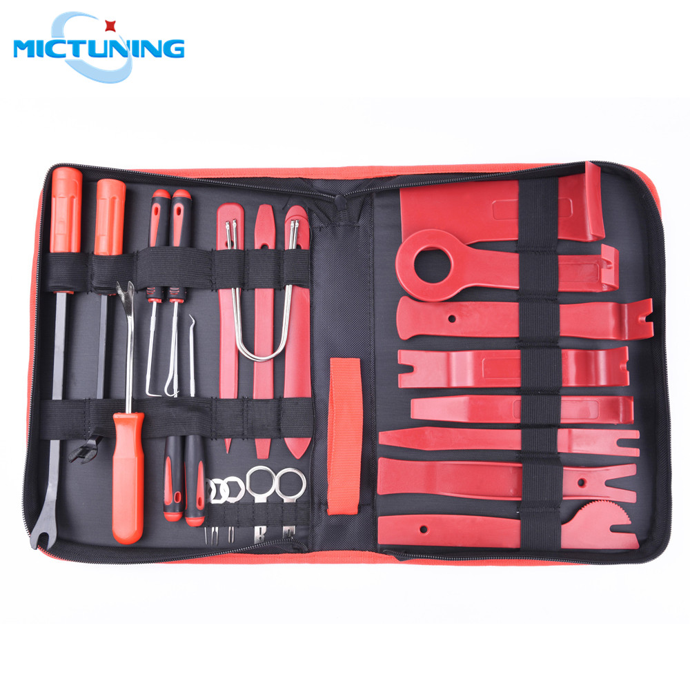 MICTUNING mis à niveau 25 pièces ensemble d'outils de suppression de garniture Audio automatique rouge avec Kit d'outils de suppression stéréo de panneau de voiture