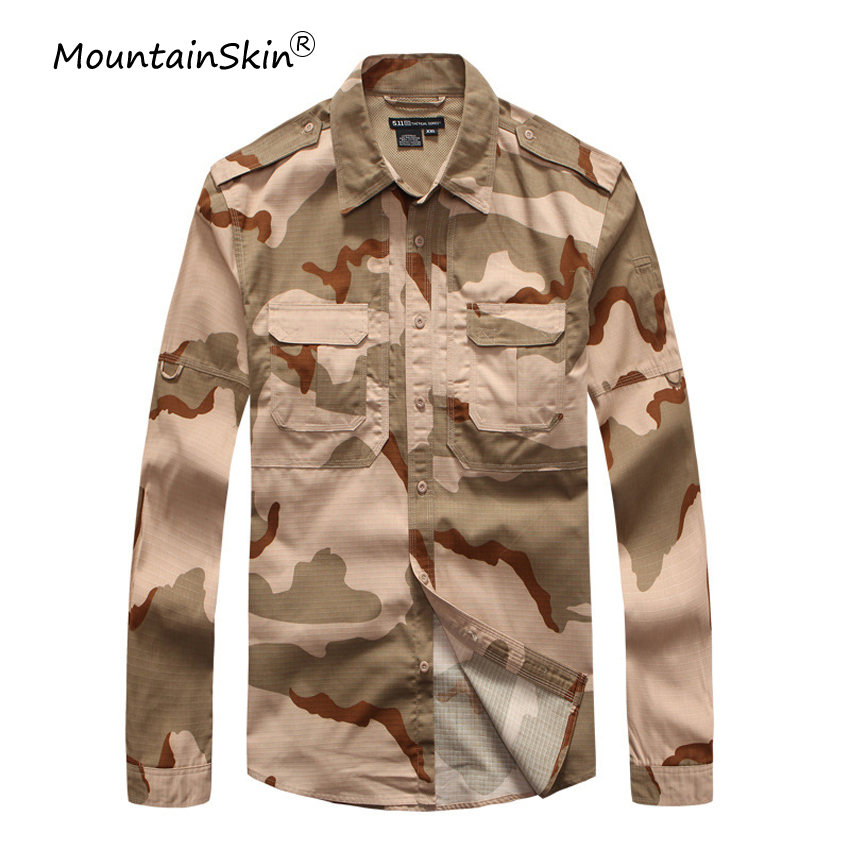 Mountainskin Men's Autumn Military Tactical Shirts Casual Camouflage Cotton Shirts High Quality Army Shirts Brand Clothing LA658