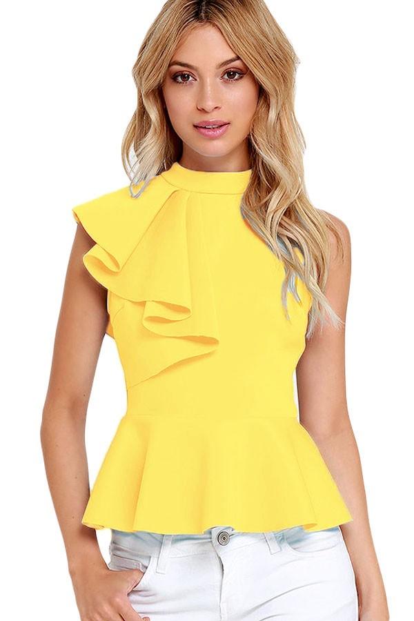 Yellow-Asymmetric-Ruffle-Side-Peplum-Top-LC25845-7-1