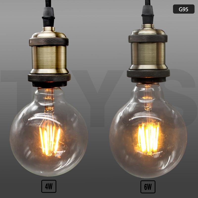 Us 1263 20 Off10 Sztuk 220 V Vintage Led żarówka Edison E27 E14 Dekoracyjne żarówki Lampa Retro Szklane żarówki świeczki Lampa Energooszczędna W