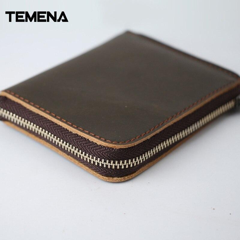 Temena 100% Genuine Leather Men Wallet Small Zipper Men Walet Portomonee Male Short Coin Purse Brand Perse Carteira CWL026