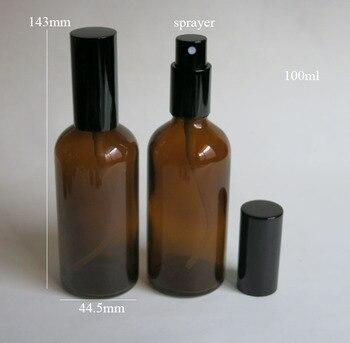 wholesale 100ml amber glass bottle with black sprayer , 100 ml glass essential oil bottle, glass brown 100ml perfume  bottle