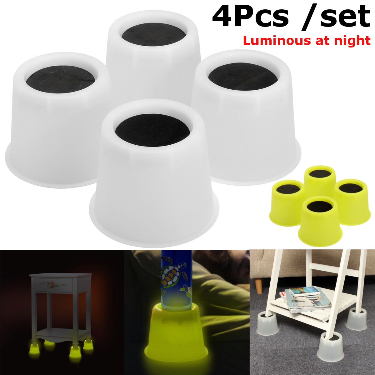 4Pcs Luminous PP Bed Furniture Chair Riser Booster Furniture Lifter Wardrobe Riser Elephant Feet Aids Luminous Set