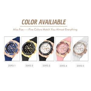 Image 5 - MISSFOX Relógios Chronograph Rose Gold Relógio Do Esporte Das Senhoras das Mulheres Diamante Azul Xfcs Feminino Analógico Quartz relógio de Pulso da Faixa de Borracha