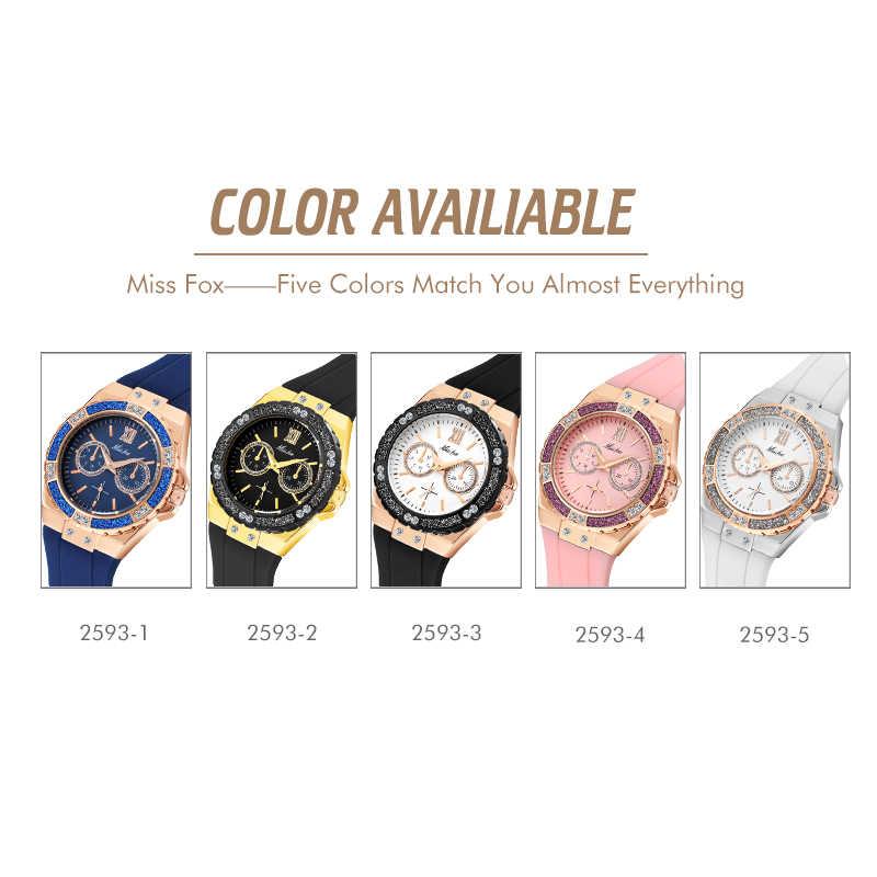 MISSFOX المرأة الساعات توقيت روز الذهب الرياضة ووتش السيدات الماس الأزرق شريط مطاطي Xfcs التناظرية الإناث الكوارتز ساعة اليد
