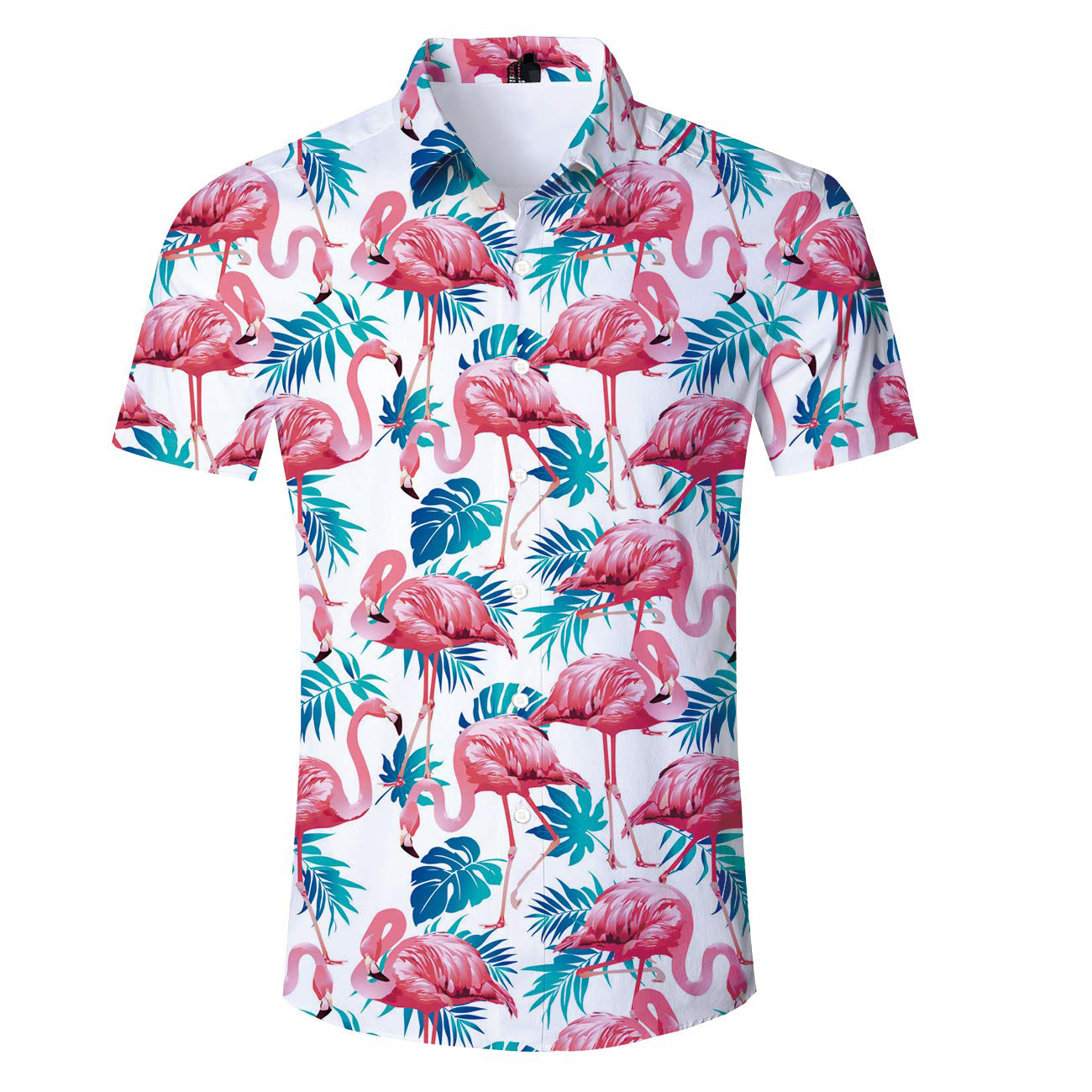 US SIZE 2019 New Summer Tropical Leaves Flamingo Print Beach Shirt Hawaiian Vacation Blouse