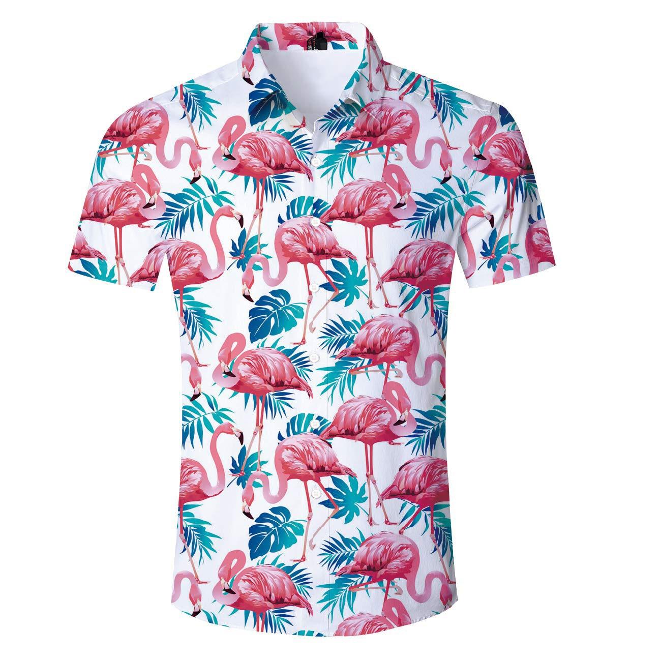 US SIZE 2019 New Summer Tropical Leaves Flamingo Print Beach Shirt Hawaiian Vacation Blouse