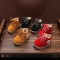 Niños bebé de la muchacha zapatos de alta ayuda zapatos de algodón impermeable antideslizante otoño invierno favorito amarillo rojo negro primera caminata xz5