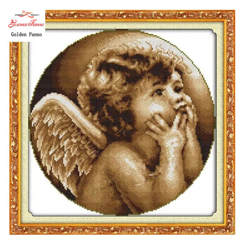 Needlework, DIY DMC Cross stitch, Sets For Embroidery kits, Looking angel Patterns Counted Cross-Stitching, Wall Home Decor