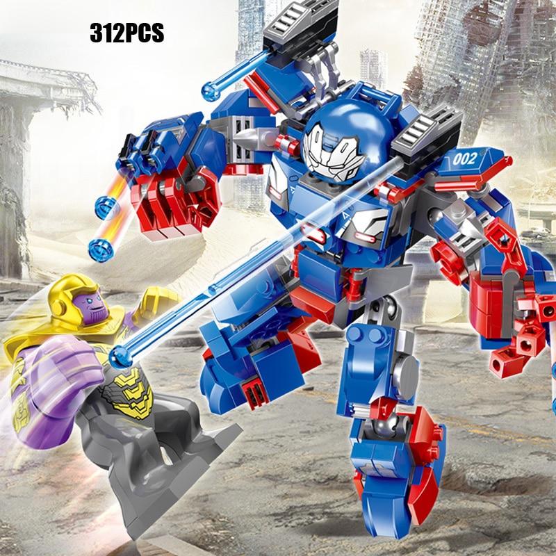 Marvel super heroes Ironman armor iron patriot Aerocraft 2in1 building block model Avenger