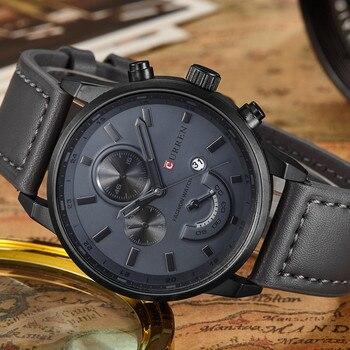 цена на Relogio Masculino Mens Watches Top Brand Luxury Quartz Watch Men Casual Sport Black Leather Strap Waterproof Curren Wristwatch
